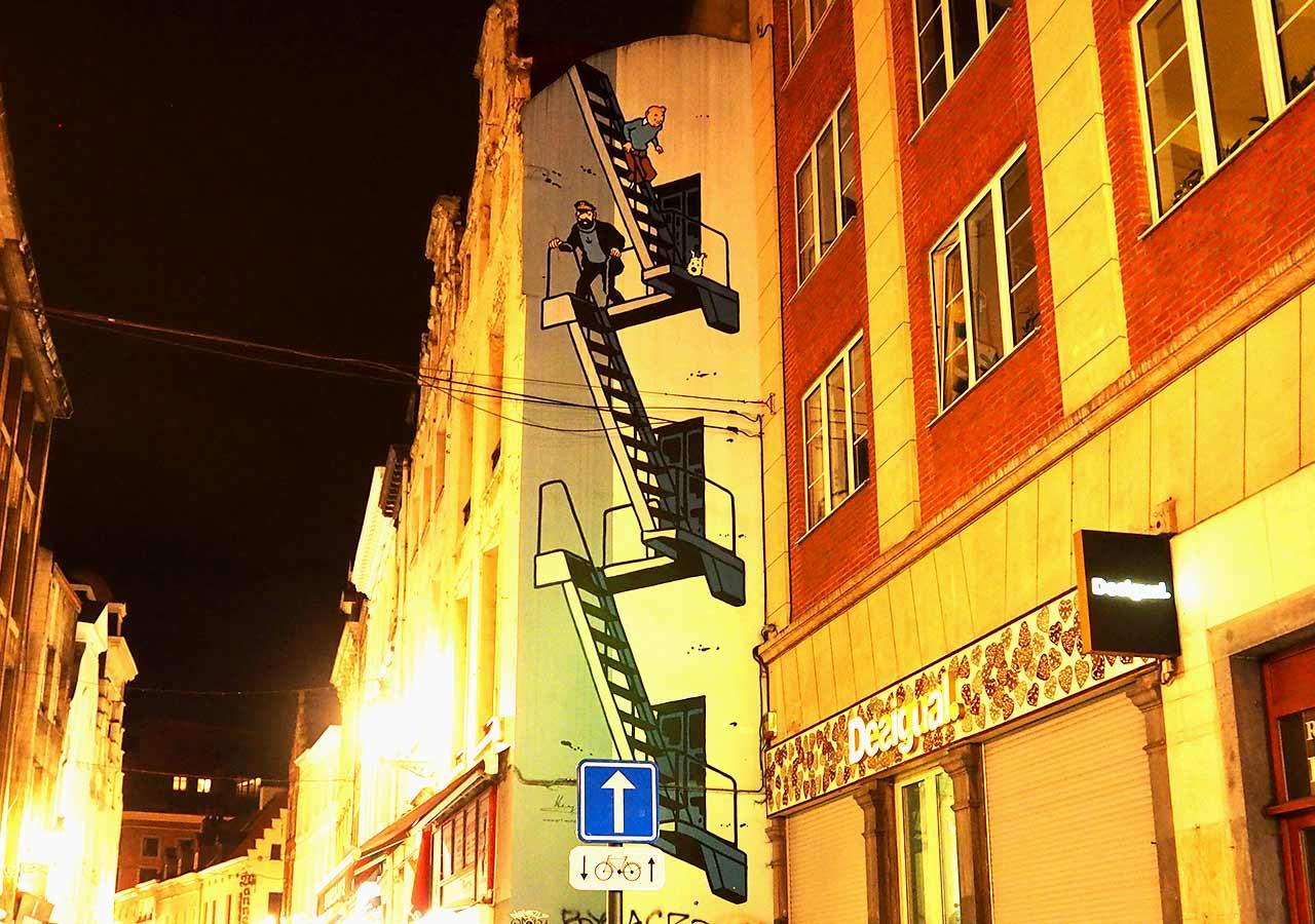ブリュッセル観光 番外編:タンタンの壁画