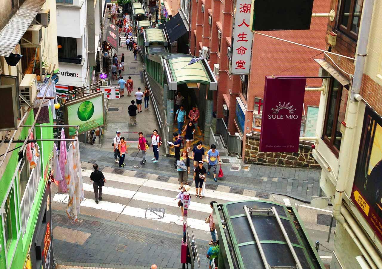 香港観光 ヒルサイドエスカレーター(The Central-Mid-levels Escalator)