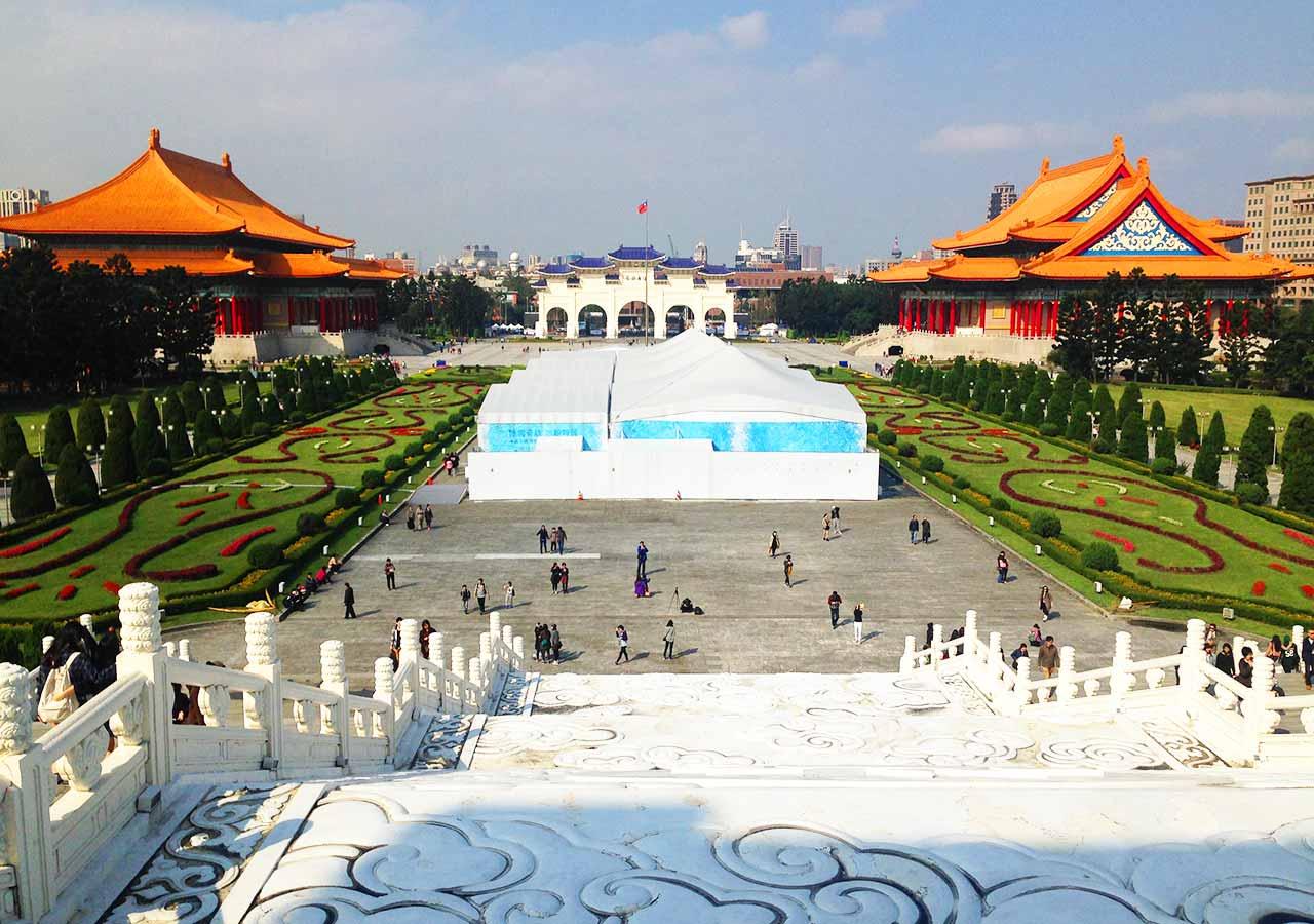 台湾観光 中正紀念堂(National CKS Memorial Hall )からの景観