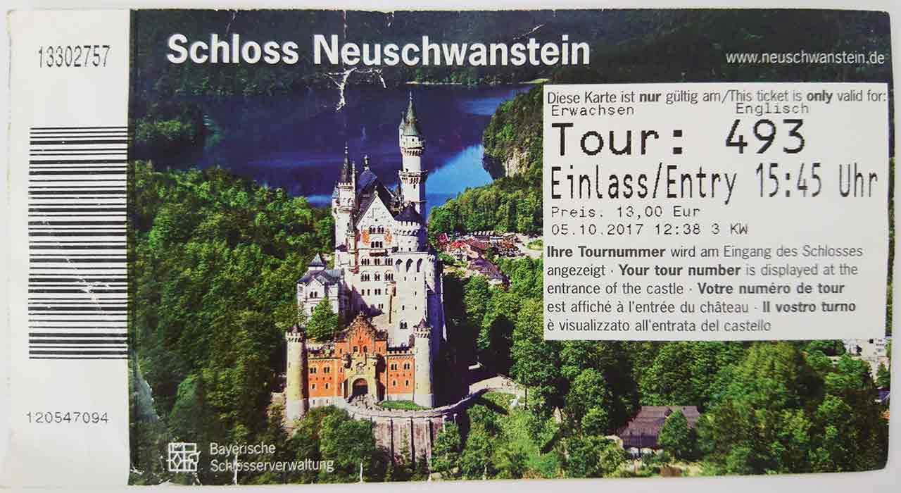 ドイツ観光 ノイシュバンシュタイン城 チケット