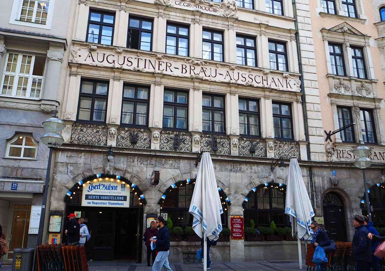 ミュンヘン観光 おすすめグルメ・ビール ツム・アウグスティナーの外観
