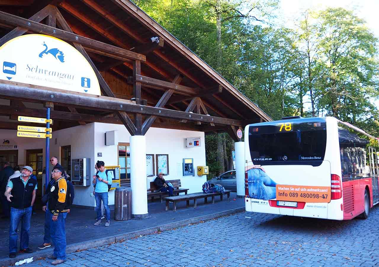 ドイツ観光 ノイシュバンシュタイン城の行き方 帰りのバス停