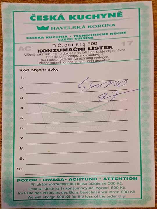 プラハ観光 グルメスポット ハヴェルスカーコルナ(Havelská Koruna)の注文用紙