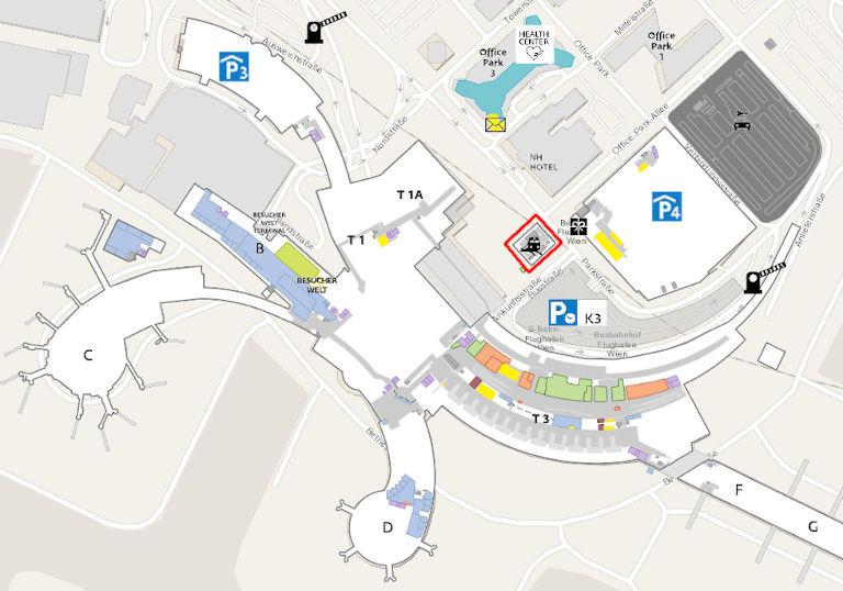 ウィーン空港(Flughafen Wien)のフロアマップ 1階