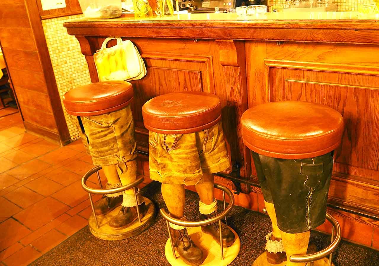 ウィーン観光 グルメスポット シュニッツェルヴィルト(Schnitzelwirt)店内の椅子