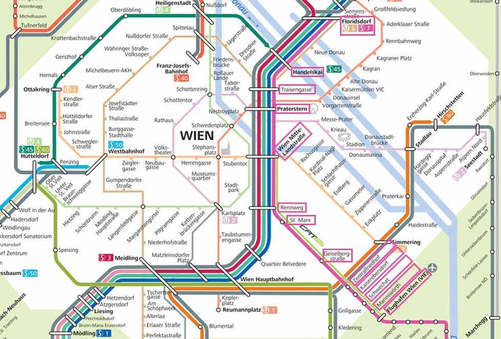 ウィーン観光 S-Bahn S7の路線図