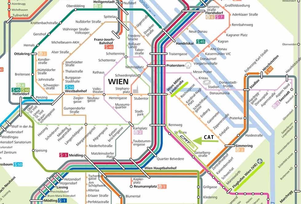 ウィーン観光 City Airport Trainの路線図