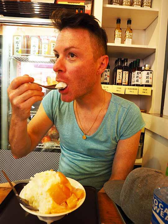 台北観光 迪化街にある悠哉悠齋-等路專賣店のマンゴーかき氷