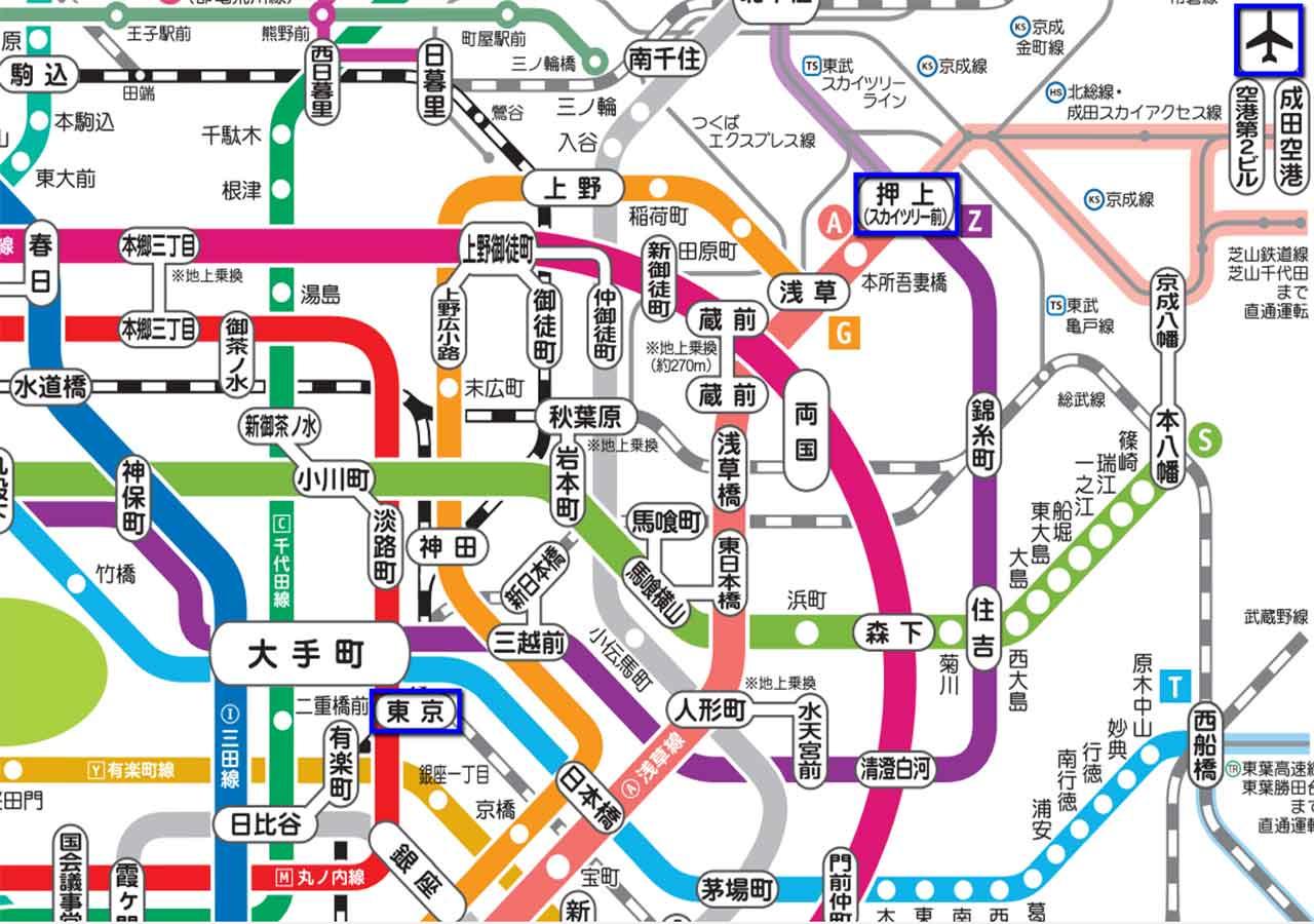 東京 電車・地下鉄の路線マップ