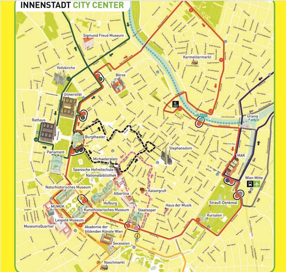 ウィーン観光 ホップオン・ホップオフバスのウィーン歴史地区の路線マップ