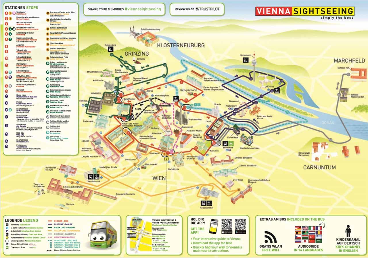 ウィーン観光 ホップオン・ホップオフバスのバス路線マップ
