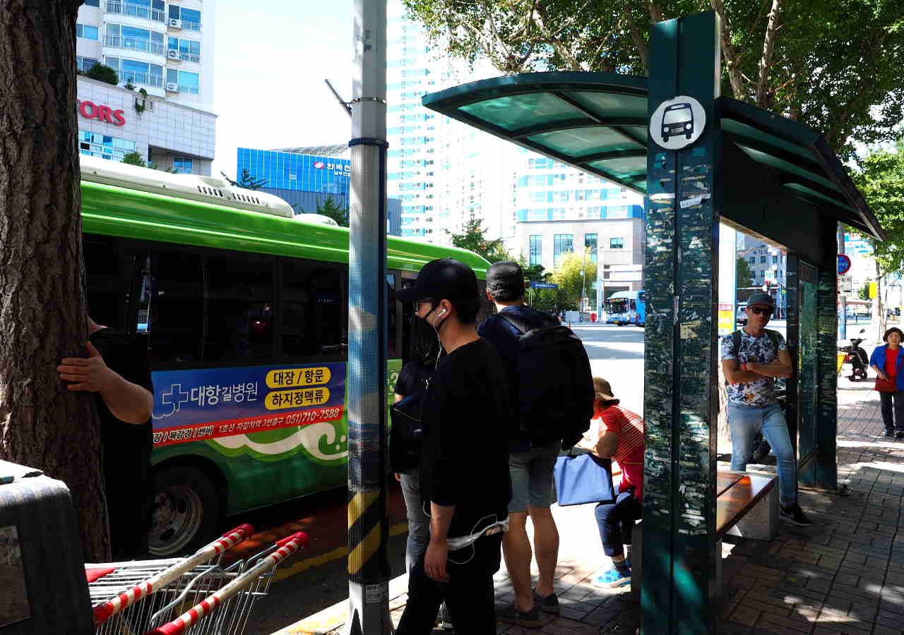 釜山観光 甘川文化村の行き方 バス停の位置