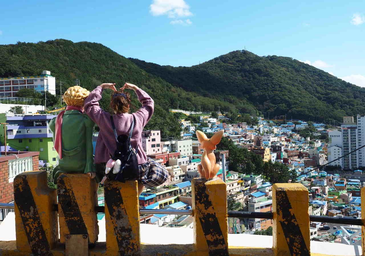 釜山観光 甘川洞文化村(Gamcheondong Cultural Village)の星の王子様とキツネの像