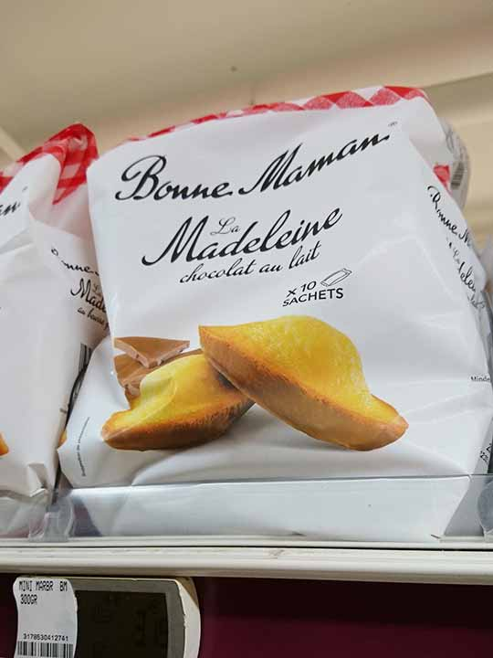 フランス・パリのお土産 スーパーマーケット ボンママンのマドレーヌ チョコ入り
