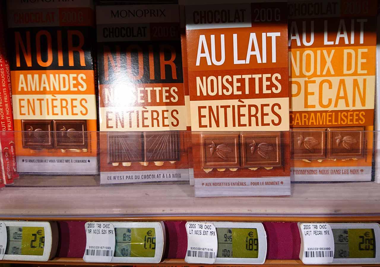 フランス・パリのお土産 スーパーマーケット モノプリ(Monoprix)のチョコレート