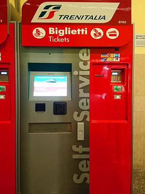 ミラノからベネチアに鉄道で移動 トレニタリア 自動券売機