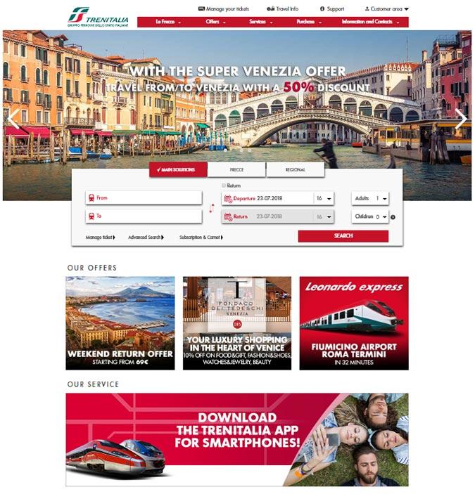 ベネチアからフィレンツェに行く電車 トレニタリアのチケット予約ページ