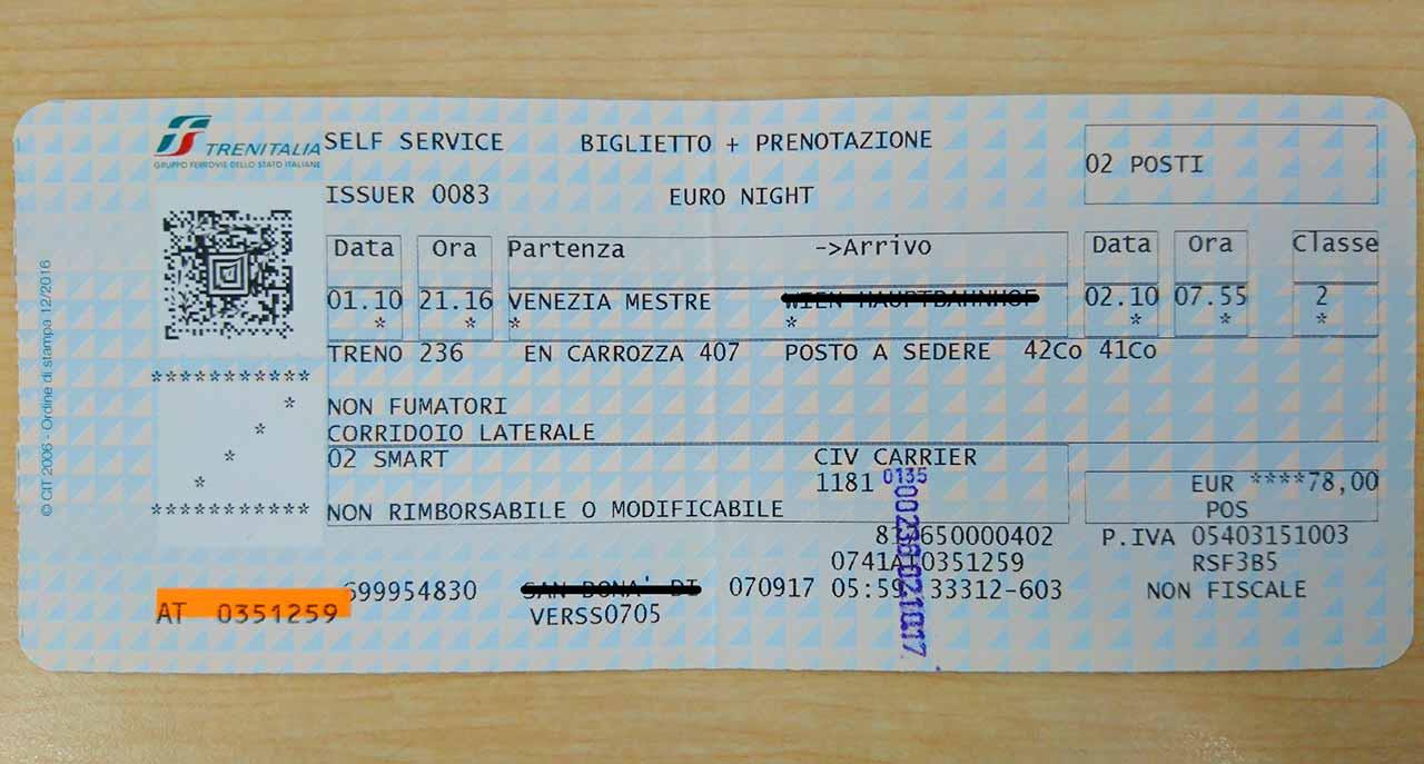 ミラノからベネチアに鉄道で移動 トレニタリアのチケット
