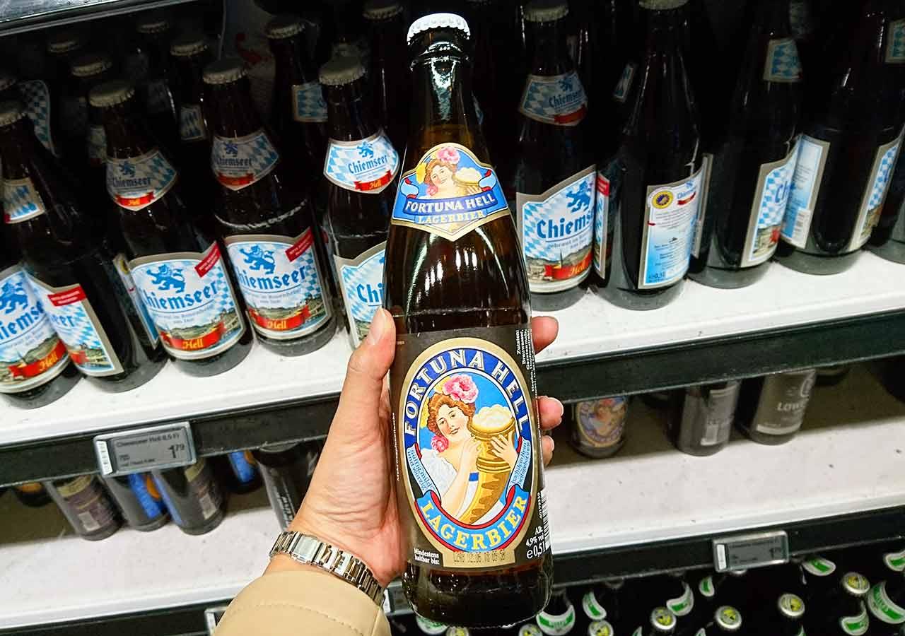 ミュンヘンのお土産 スーパーのビール Fortuna Hell Lagerbier