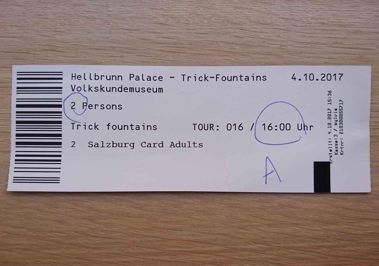 ザルツブルク観光 ヘルブルン宮殿 チケット