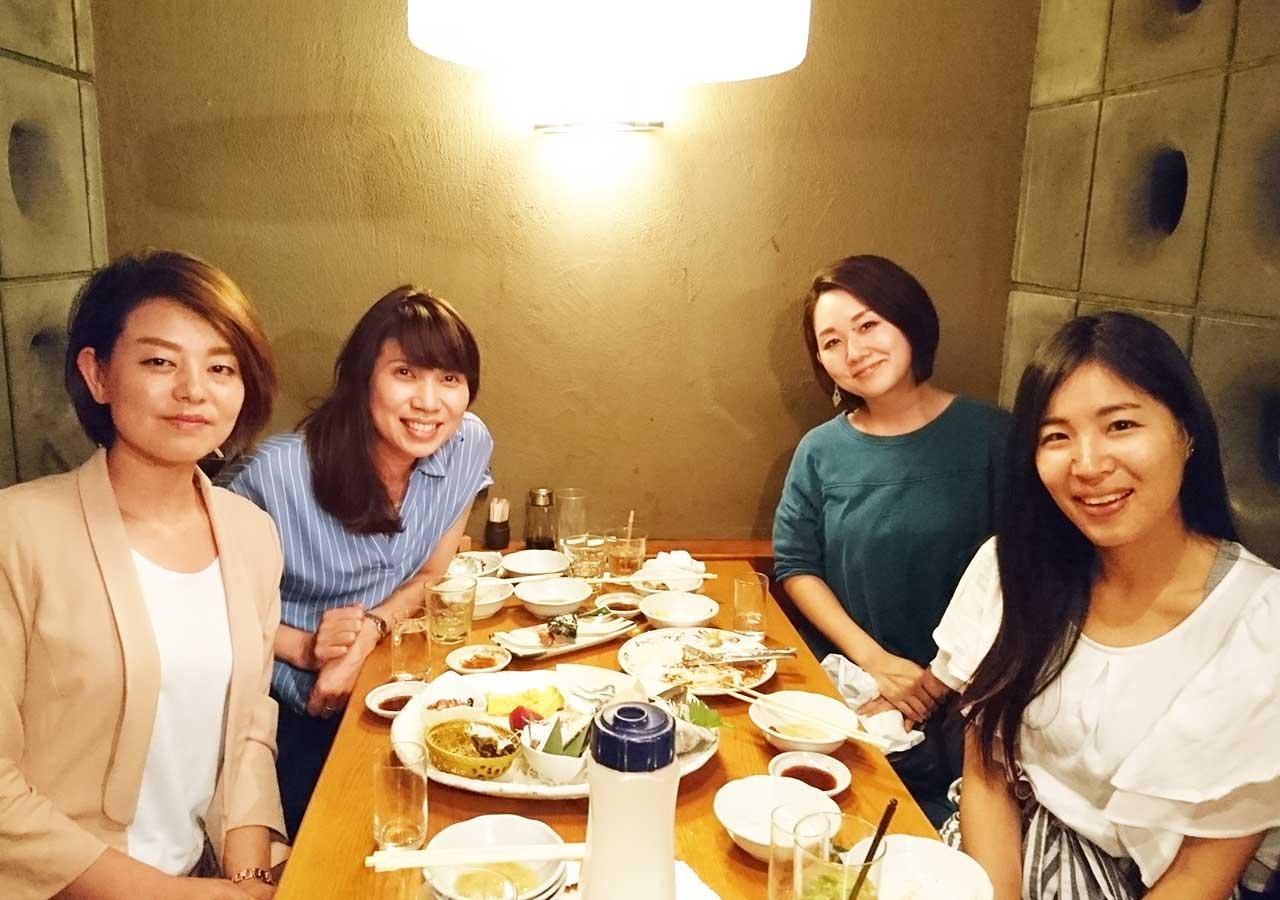 東京観光 池袋の海鮮居酒屋 魚金・池袋店で撮った友達との写真