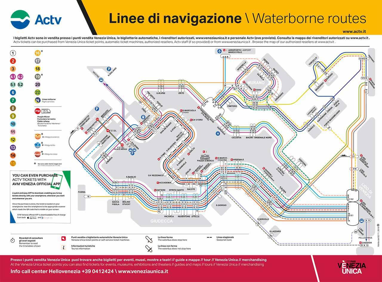ベネチア観光 ヴァポレット(VAPORETTO)の路線図
