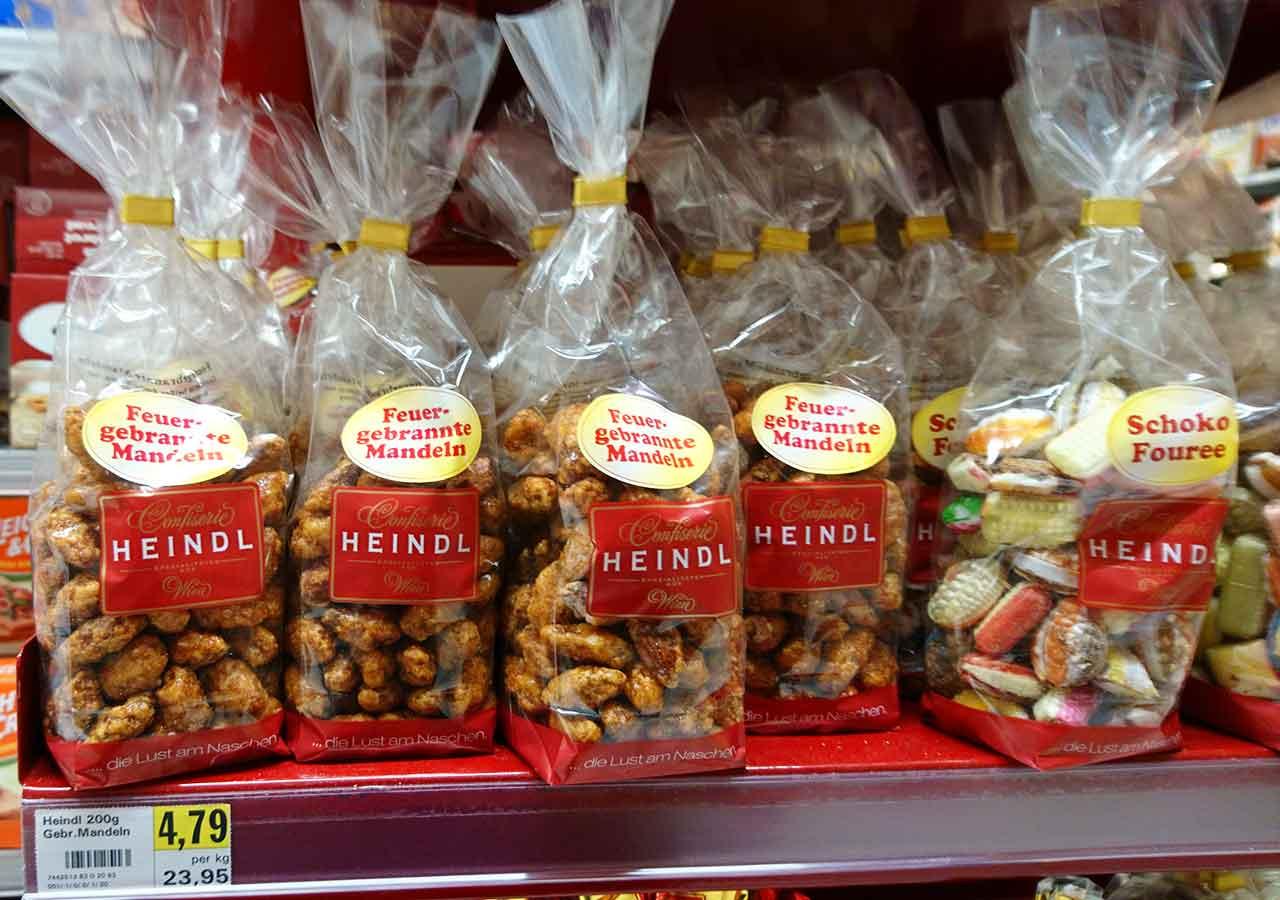 オーストリア・ウィーンのお土産 スーパーのFeuergebrannte Mandeln(アーモンド菓子)