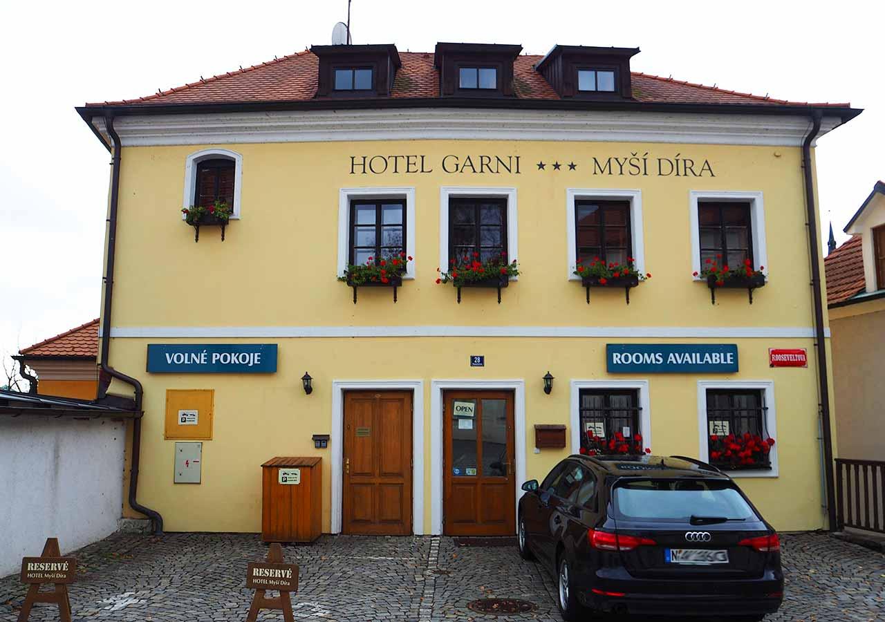 チェスキークルムロフ観光 おすすめホテル ホテル ガルニ ミッシー ディーラ(Hotel Garni Mysí Díra)