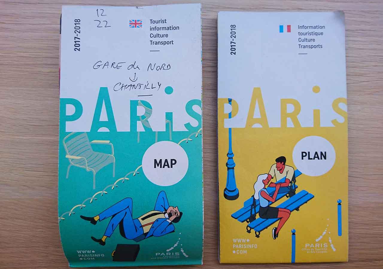 パリ観光 パリのメトロ(地下鉄)路線図+観光地の地図