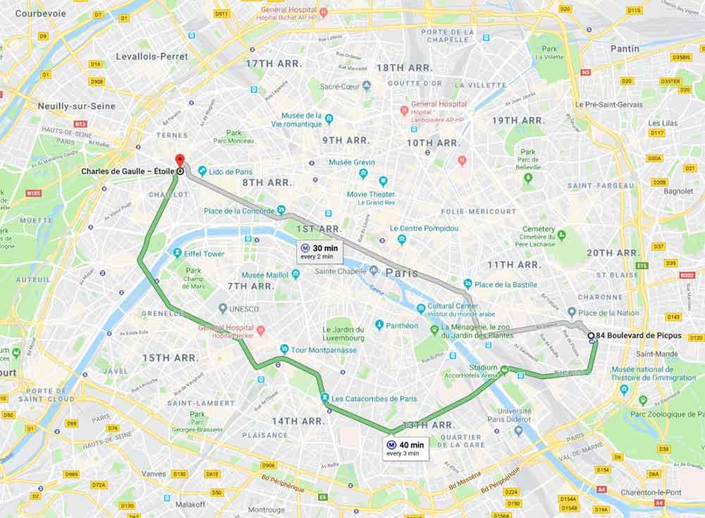 パリ観光 パリのメトロ(地下鉄) 路線6番