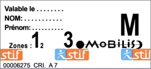 パリ観光 パリのメトロ(地下鉄)の切符 Mobilis(モビリス)