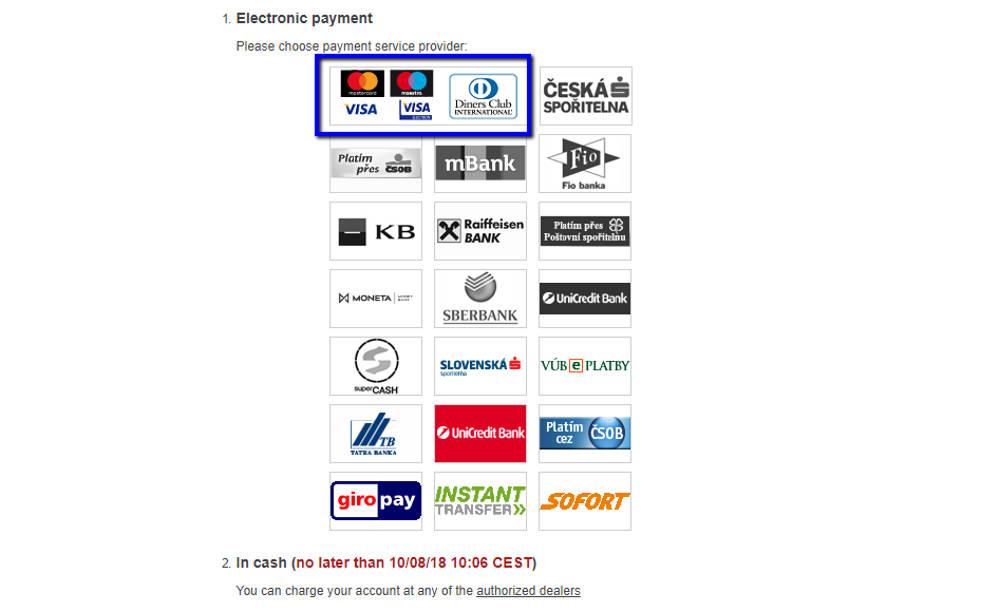 チェコ観光 チェスキークルムロフの行き方 Student AgencyのRegioJetのバス予約画面 クレジットカード選択画面