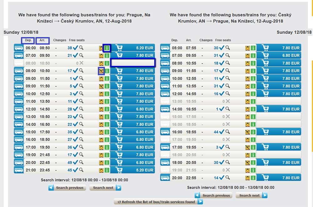 チェコ観光 チェスキークルムロフの行き方 Student AgencyのRegioJetのバス予約画面 時刻・料金一覧