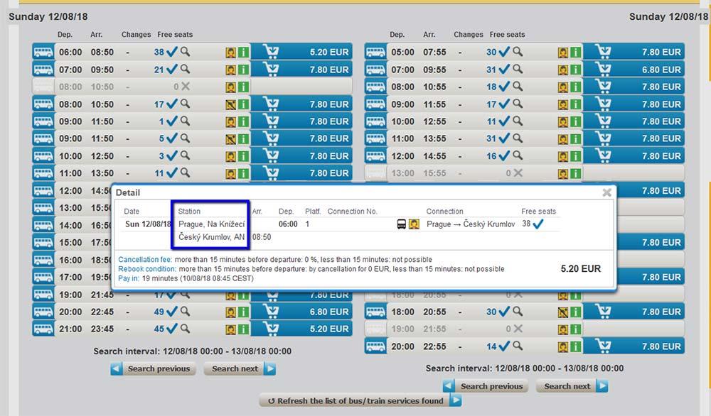 チェコ観光 チェスキークルムロフの行き方 Student AgencyのRegioJetのバス予約画面 時刻・料金一覧2