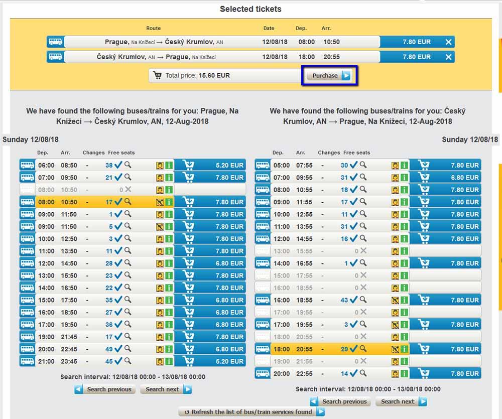 チェコ観光 チェスキークルムロフの行き方 Student AgencyのRegioJetのバス予約画面 時刻・料金一覧3