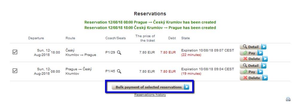 チェコ観光 チェスキークルムロフの行き方 Student AgencyのRegioJetのバス予約画面 予約内容確認画面