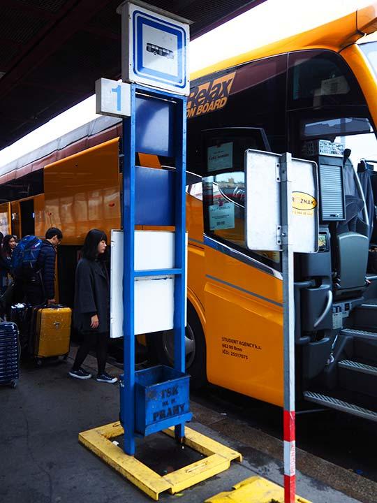 チェコ観光 チェスキークルムロフの行き方 Student AgencyのRegioJetのバス乗り場