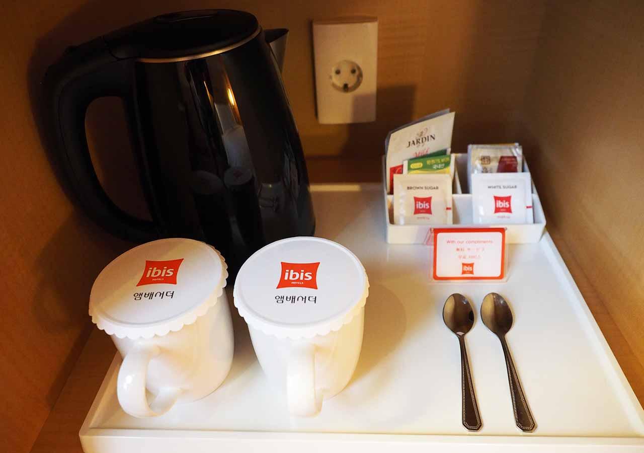 釜山・西面(ソミョン)エリアのホテル イビスアンバサダー釜山シティセンター ケトル・コーヒー・お茶