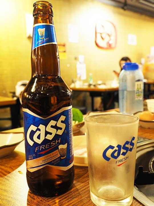 釜山の西面グルメ ナクチポックンのお店「ケミチプ」 ビールCASS