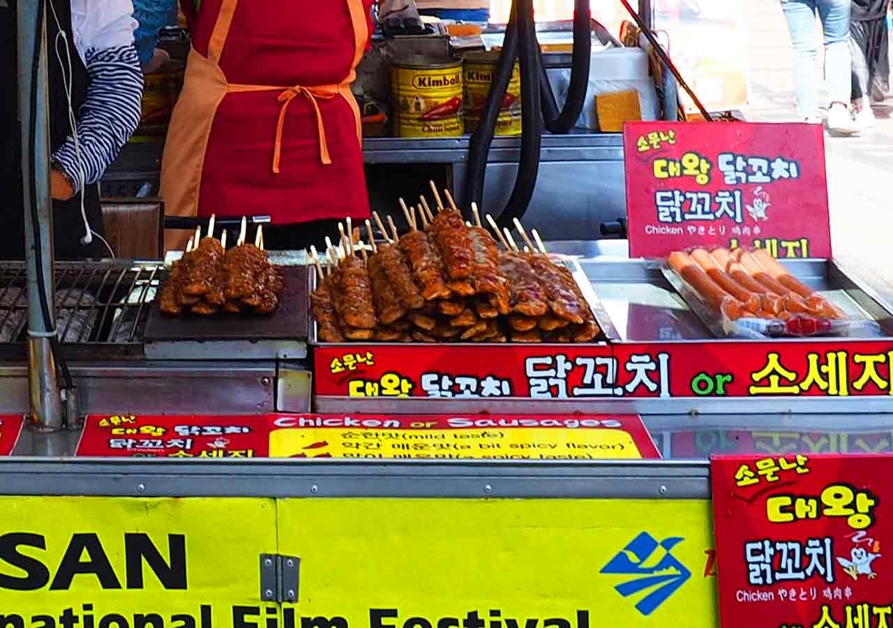 釜山観光 BIFF広場の屋台 焼き鳥