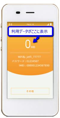 海外用レンタルWiFi jetfiのメリット 利用データ量が画面に表示される