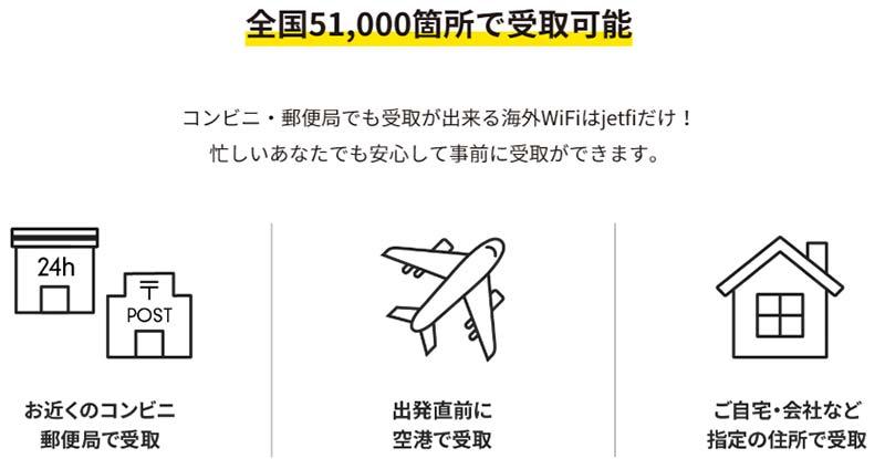 海外用レンタルWiFi jetfiのメリット 空港受取の手数料無料・コンビニ・郵便局で受け取り可能
