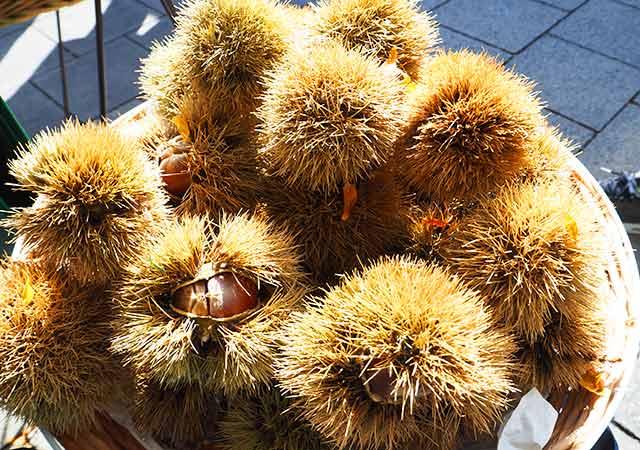 ミュンヘン観光 ヴィクトアリエンマルクト(Viktualienmarkt) 青果市場の栗