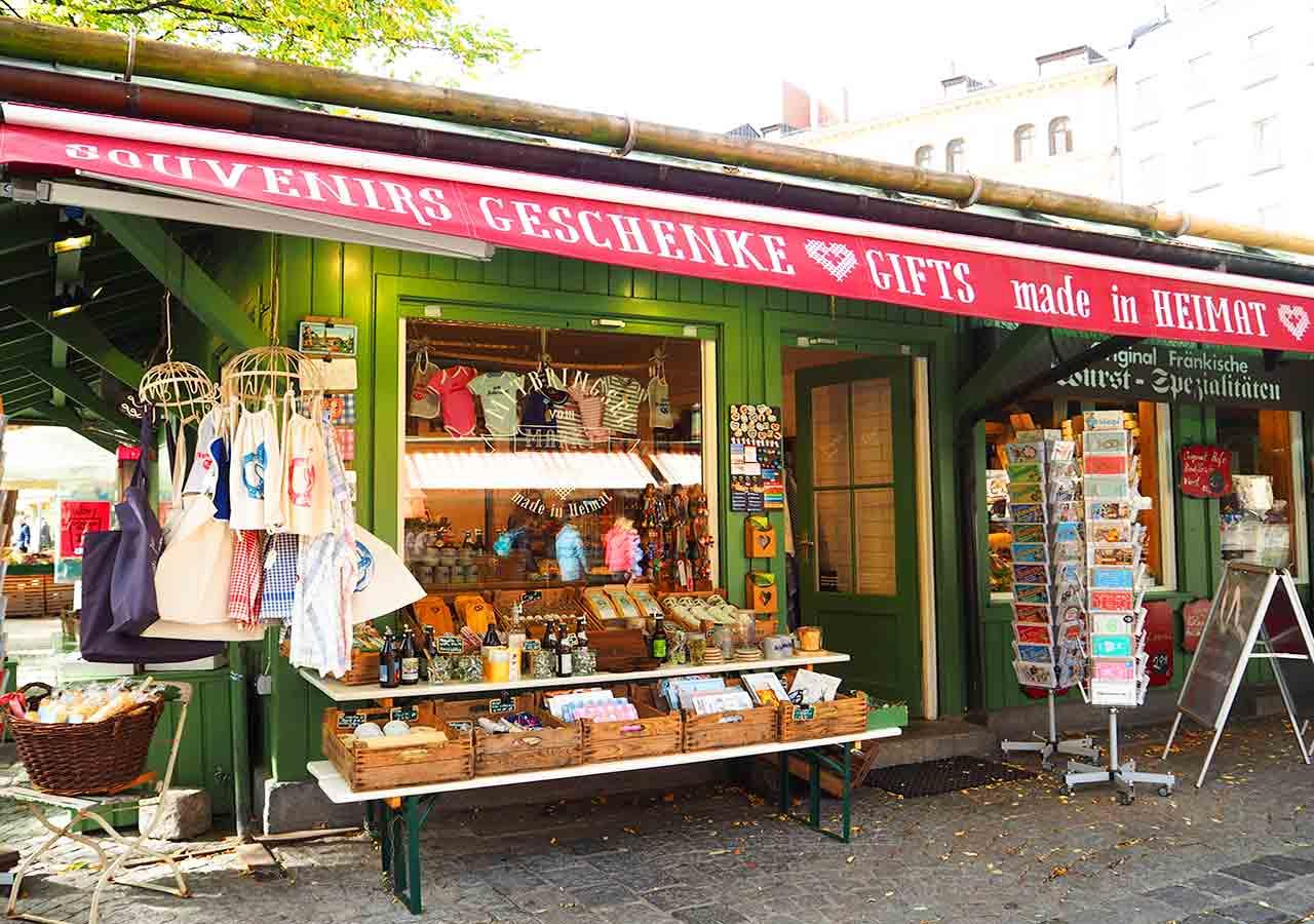 ミュンヘン観光 ヴィクトアリエンマルクト(Viktualienmarkt) お土産屋さん