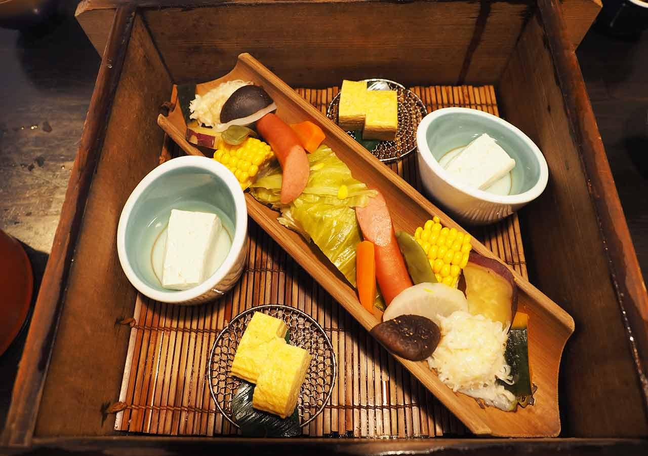 熊本県小国町 わいた温泉郷 旅館 山翠 朝食 地獄蒸しの野菜・ウインナー