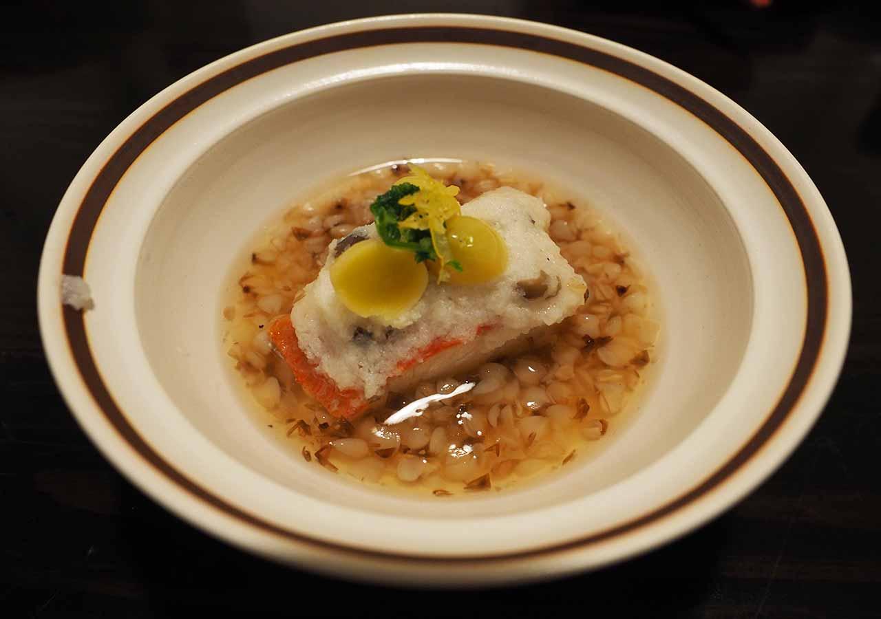 熊本県小国町 わいた温泉郷 旅館 山翠 夕食 金目鯛の蕎麦実あんかけ
