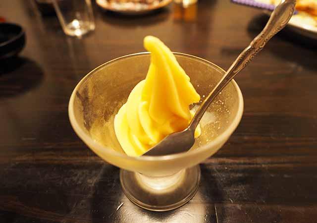熊本県小国町 わいた温泉郷 旅館 山翠 夕食 みかんアイスクリーム