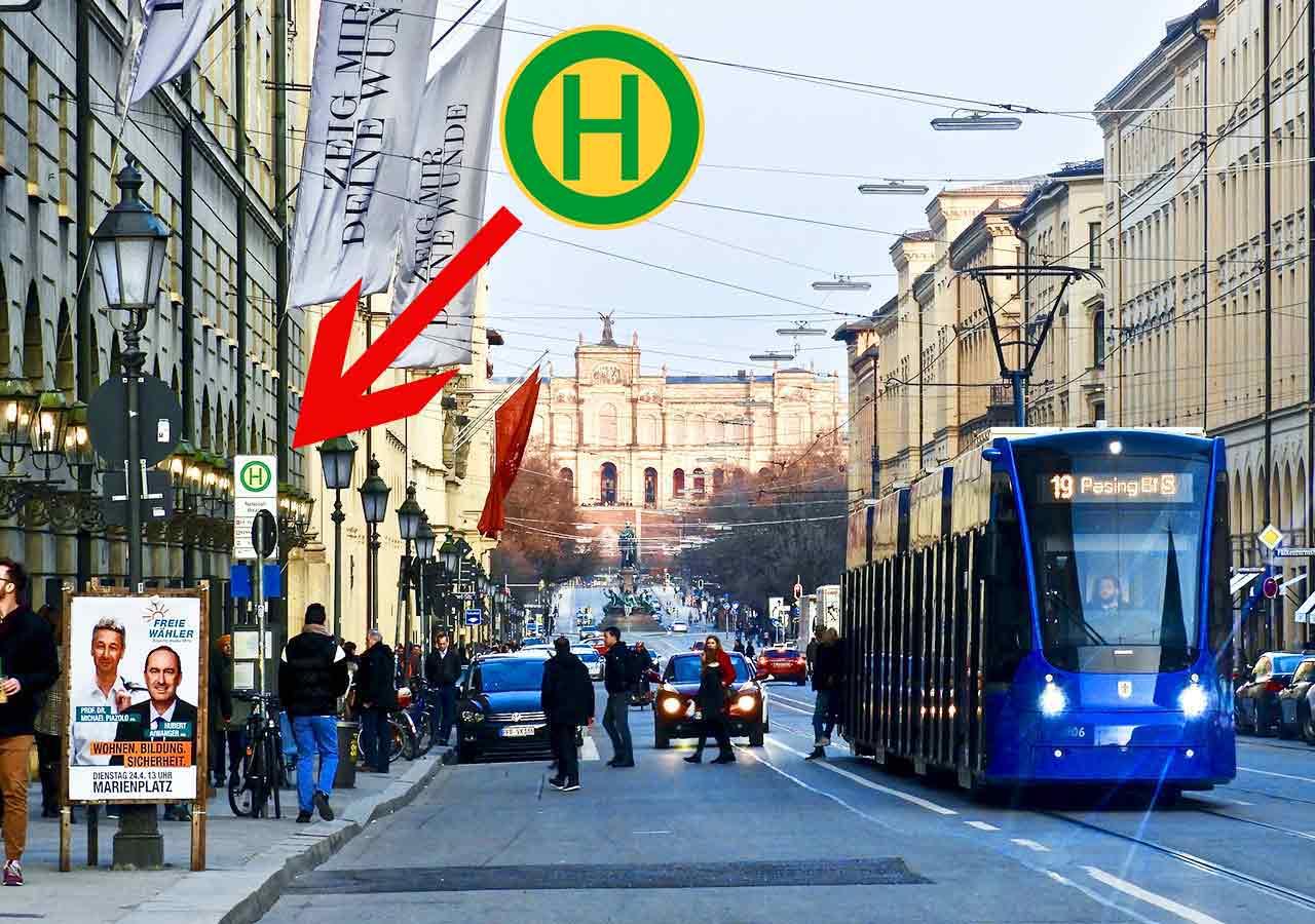 ミュンヘン観光 公共交通機関 トラム・バスの標識