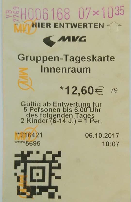 ミュンヘン観光 公共交通機関 1日乗車券グループチケット