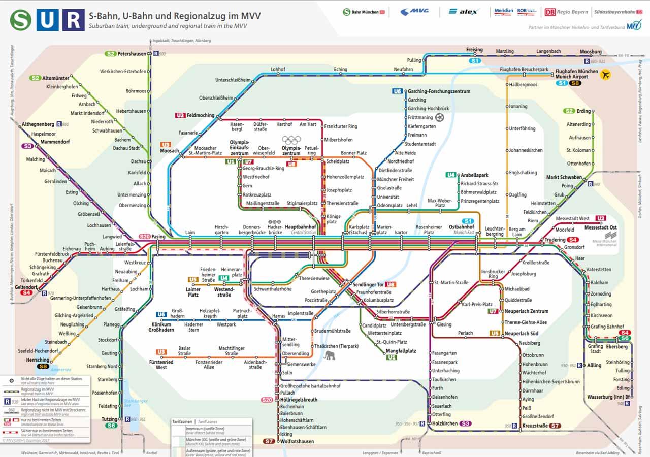 ミュンヘン観光 公共交通機関 路線図